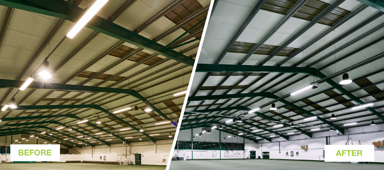 Before and after of a warehouse with fitted LED's