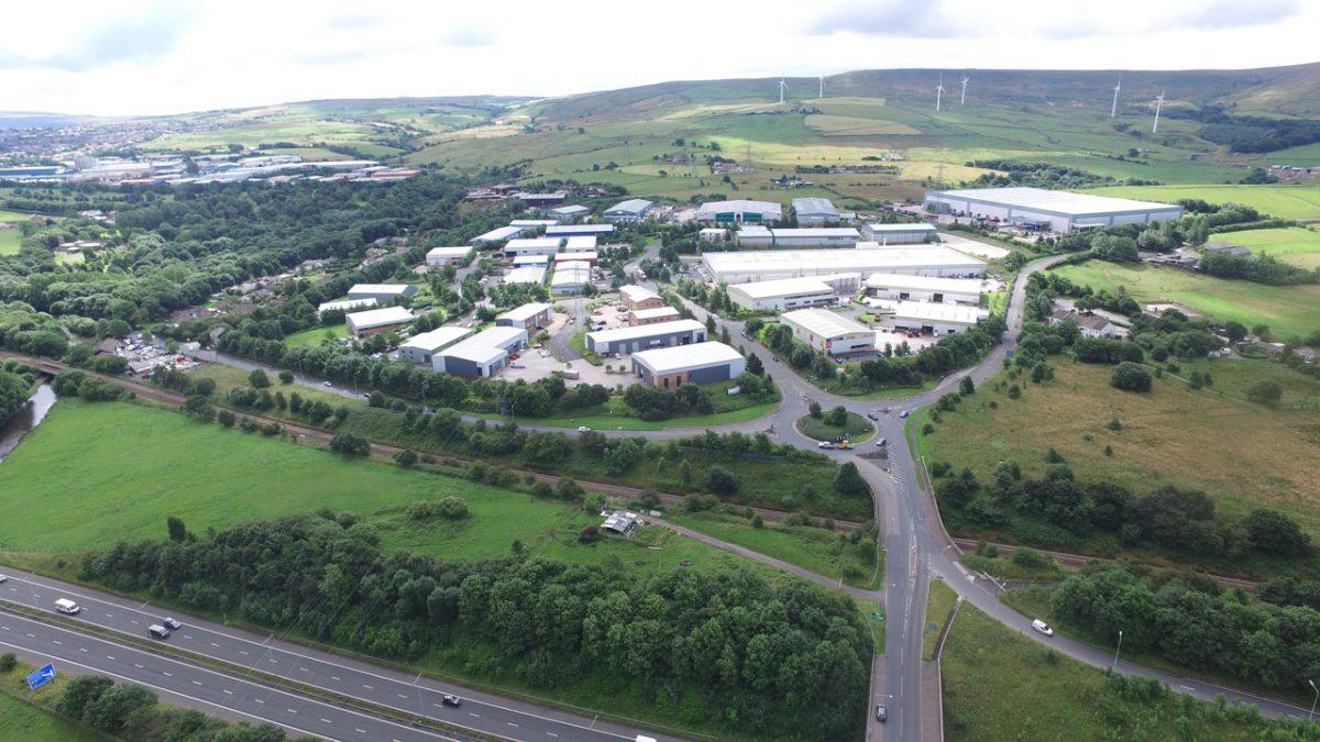 Drone view of Burnley Bridge