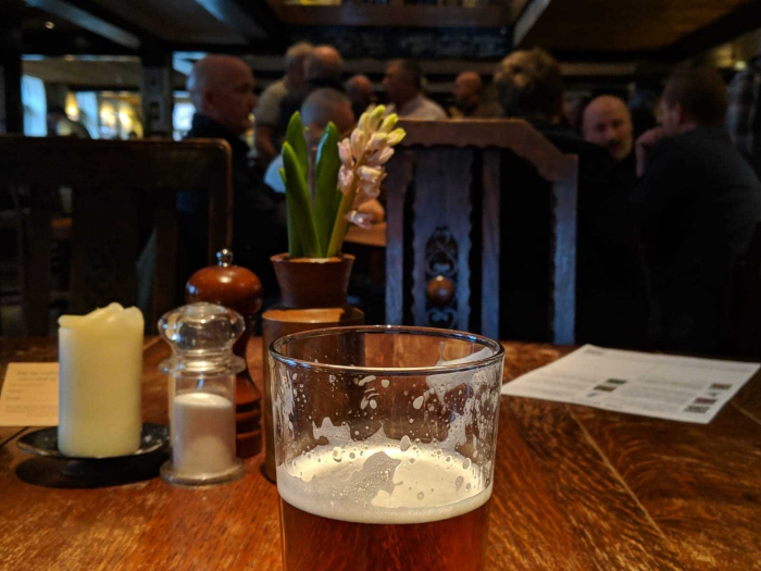 Pint of IPA in a pub