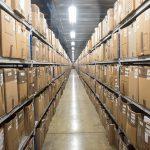 Aisle of boxes