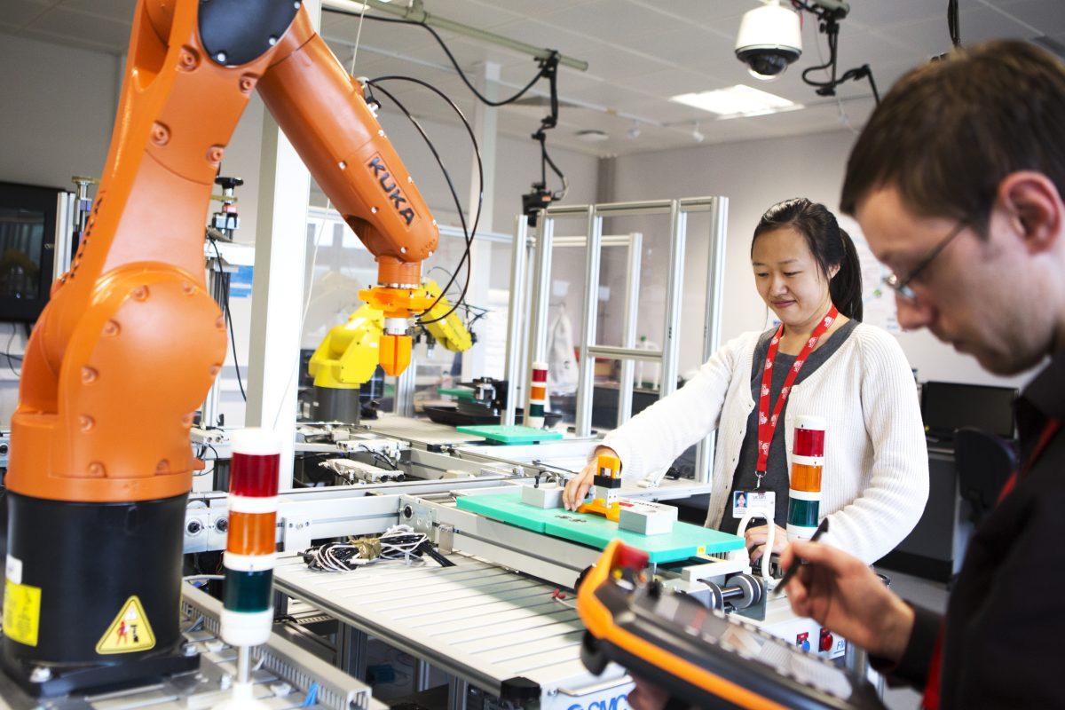 UCLan students working with robotics