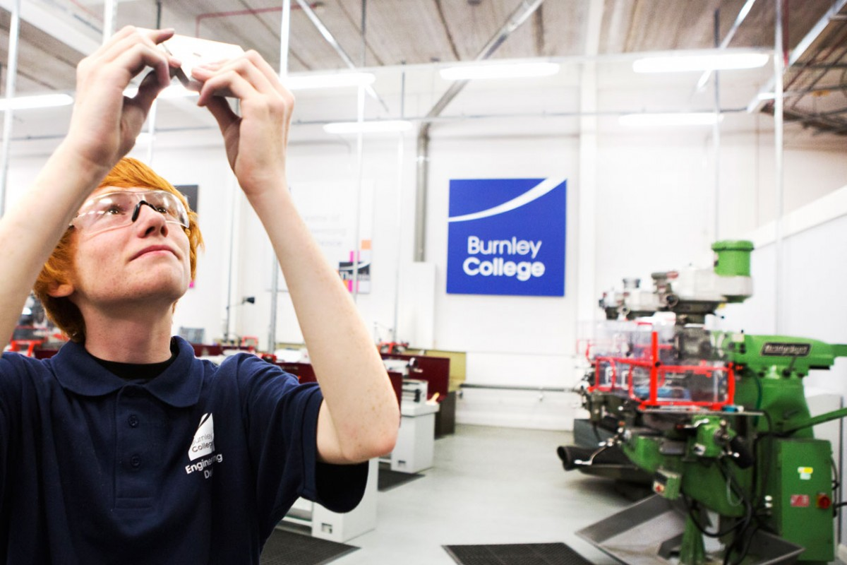An engineering student at Burnley College