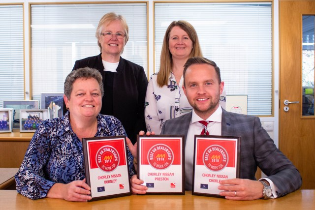 "Employees holding three ""Best UK Dealership"" awards"