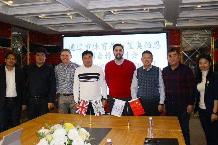 Neil Hart and Paul Wozny with representatives of Lanao Football Club