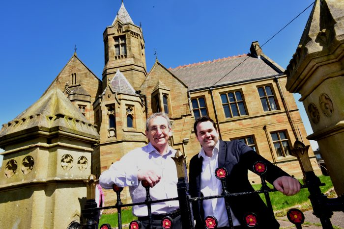 Mark Crabtree and partner David Walker by the former Burnley Grammer School which they are developing into a Digital workspace