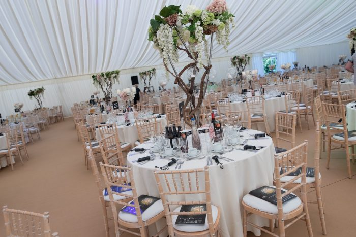 Business Awards' tables with tree table stands