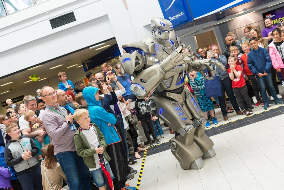 Titan the Robot in front of Burnley College Audience