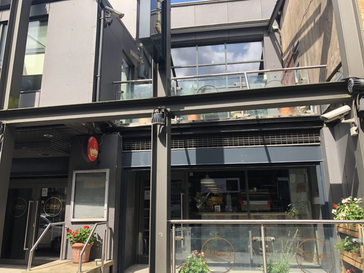 Modern frontage of Astoria bar and restaurant