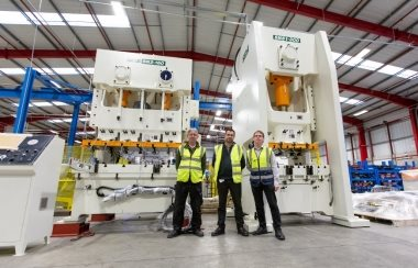 Left to Right, What More UK's Kevin Allum, Iain Sellic, and Garry Ireland, with their Shiny New Bakeware Machines