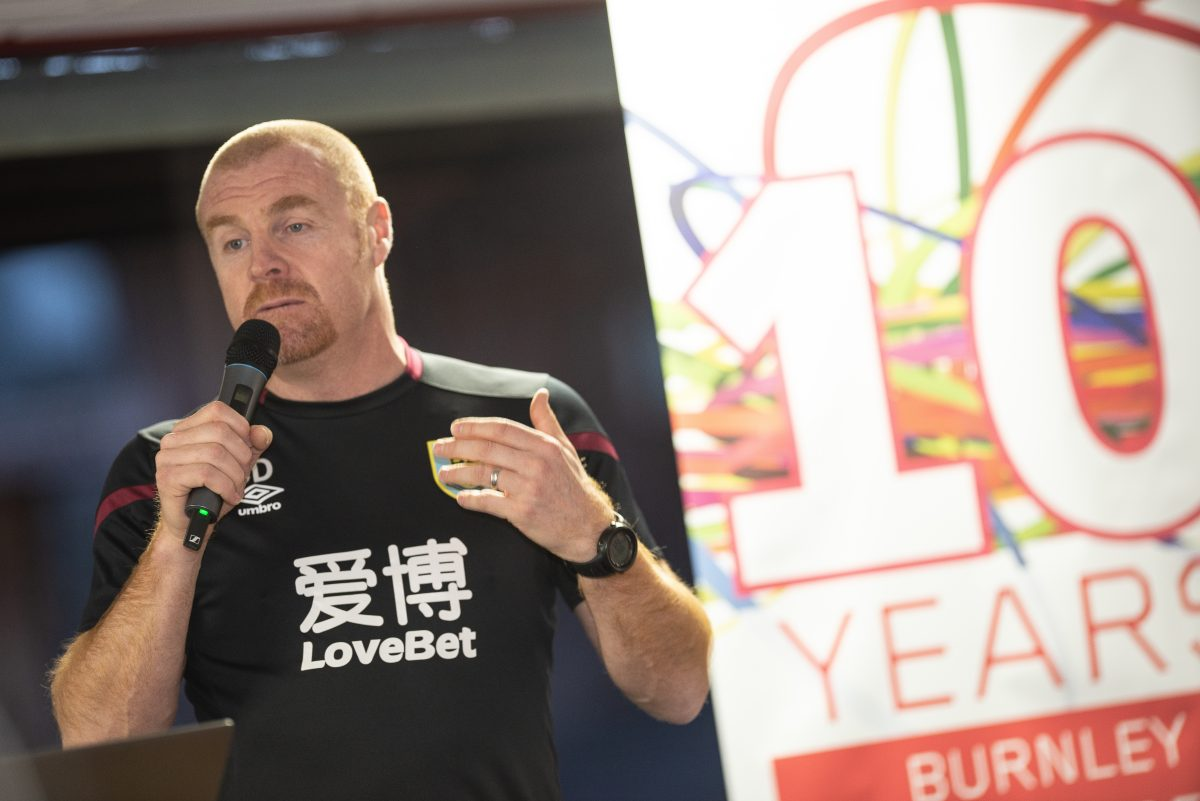 Sean Dyche speaking at 10 year anniversary event
