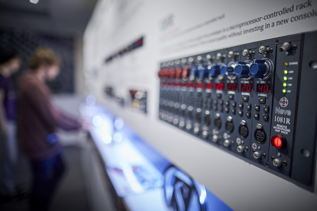 A control panel at AMS Neve