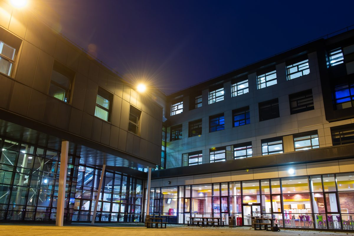 A night shot of Burnley College