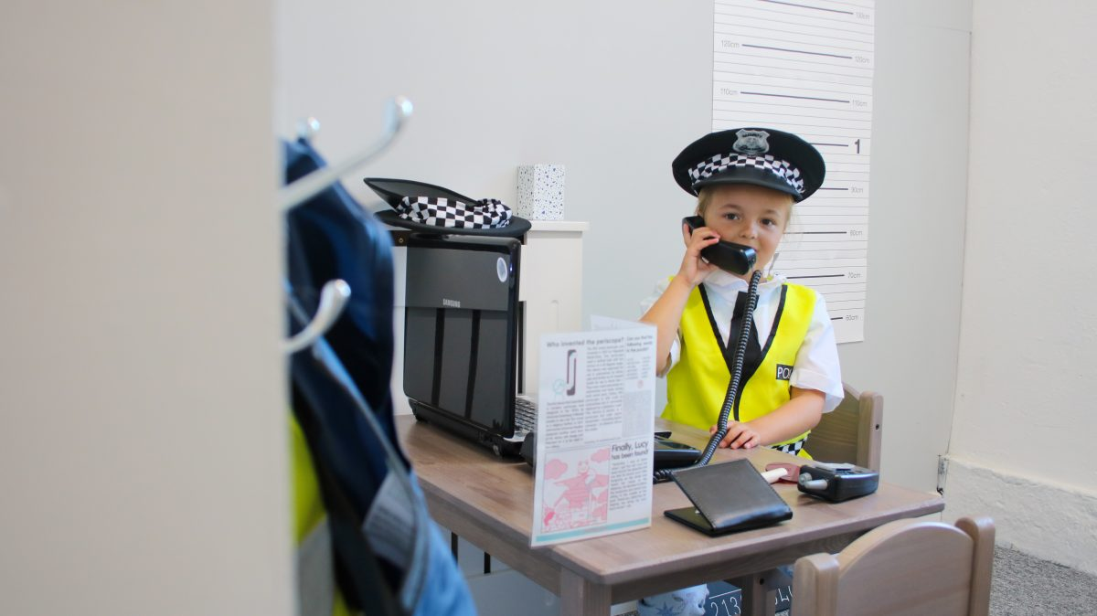 The role play police station at Tiny Tots Town Burnley